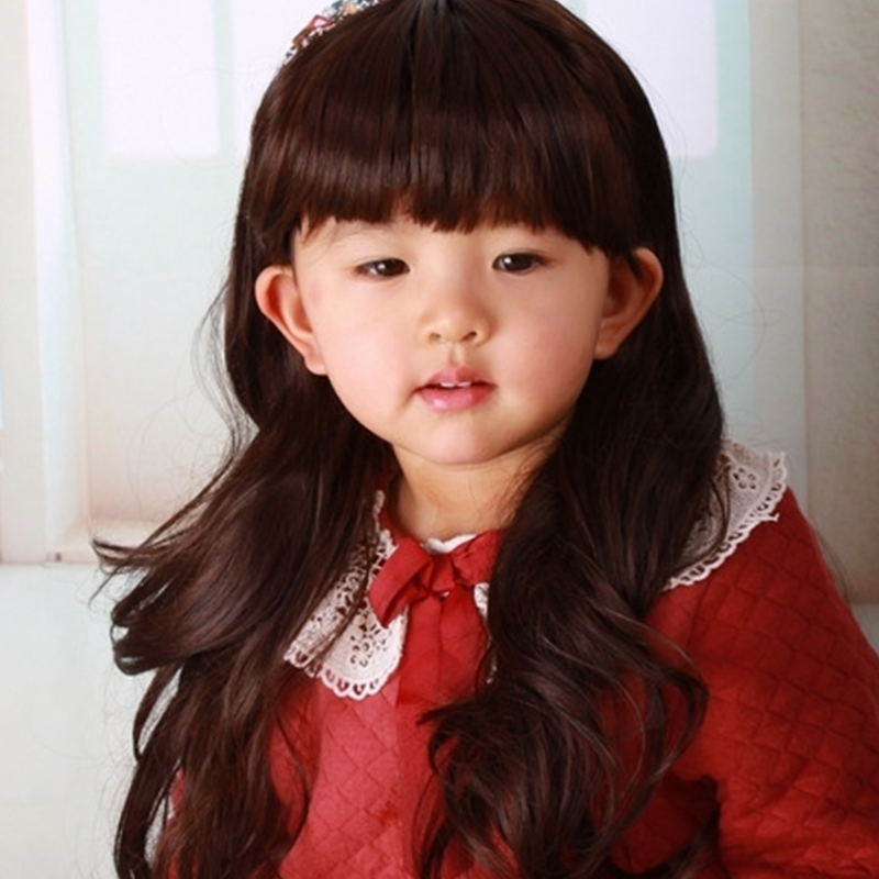 Infants and Children Baby Wigs Long Curly Wavy Hair Synthetic Hair Wigs Cute Kid Wig Neat Bang Girl Lovely Photography Pictures(China (Mainland))