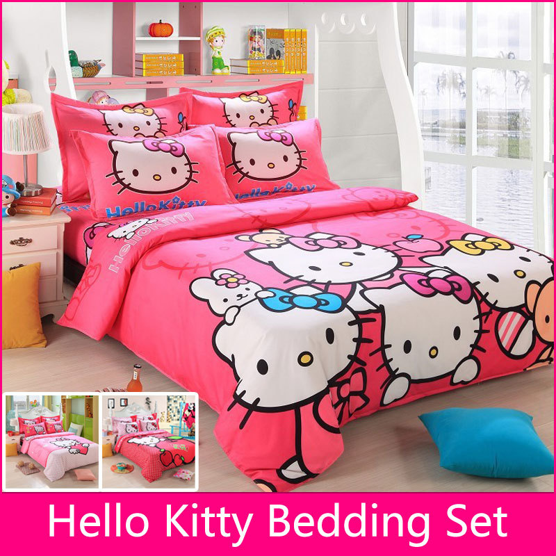 Hello Kitty Bedding Set Children Cotton Bed sheets Hello Kitty ...
