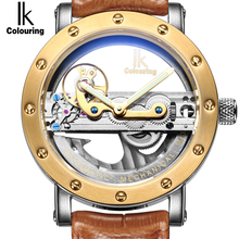 IK colouring Gold Hollow Automatic Mechanical Watches Men Luxury Brand Leather Strap Casual Vintage Skeleton Watch Clock relogio(China (Mainland))