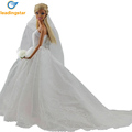 LeadingStar Bridal Gown Princess Dress Clothes Embroidered Fashion Wedding Party Long White Dress For Barbie Doll