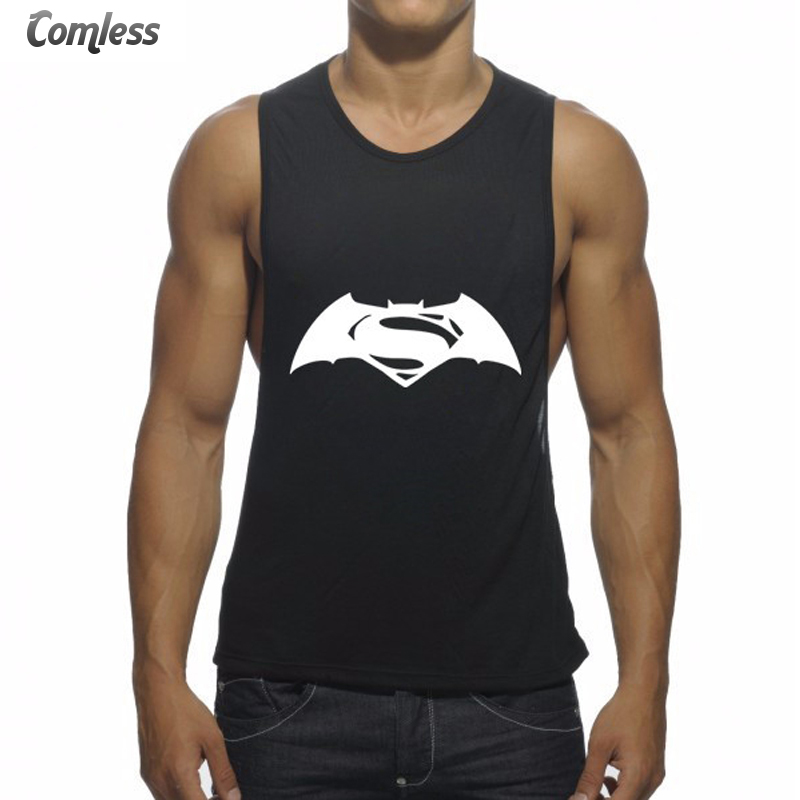 2017 New Batman Superman Combine Logo Printed Tank Tops Men Bodybuilding Fitness Loose Style Elastic Funny Vest Mens Clothing(China (Mainland))