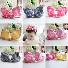 Kawaii Baby Infant 100% Cotton Rabbit Ear Headband Headwear Dress up Hairband Hair Accessories Rope Gum for Hair