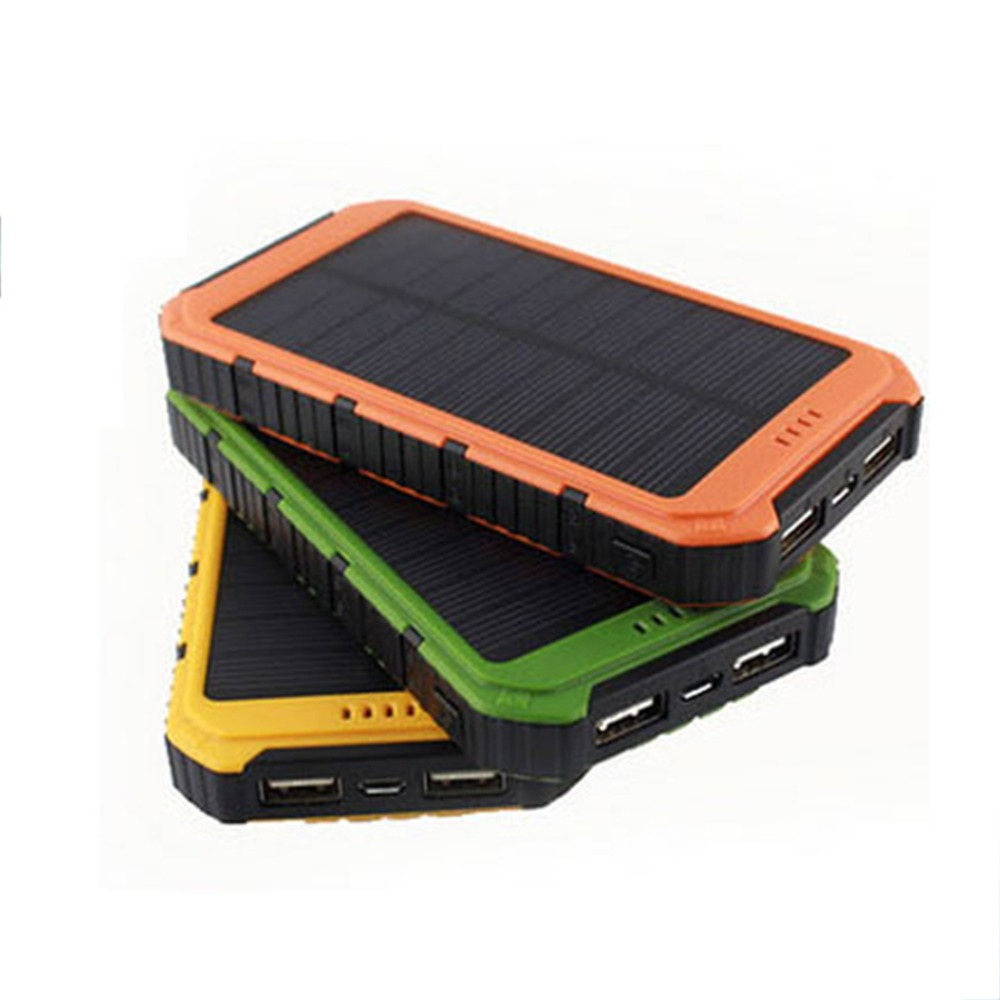 Wholesale Universal Solar Panel Power Bank 2A 1A External Battery Pack Phone Charger Green Orange Yellow Hot Sale(China (Mainland))