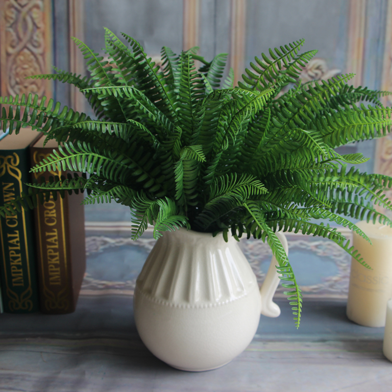 Buy 7 branches green fake lifelike plants for Artificial banana leaves decoration