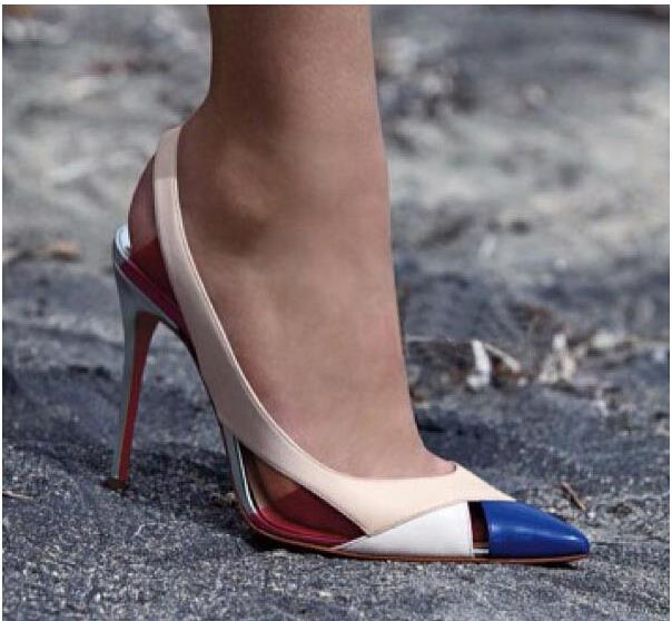 2015 Ladies Brand Sexy High Heels Fashion Red Bottom Shoes Women Pumps Patchwork Pointed Toe Heels Designer Shoes Woman(China (Mainland))