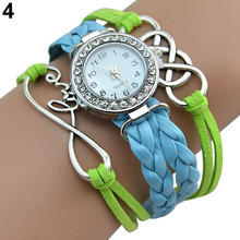 Popular Natural Women's Double Infinity Crystal Dial Leather Bracelet Charm Wrist Watch NO181 5UV7 W2E8D
