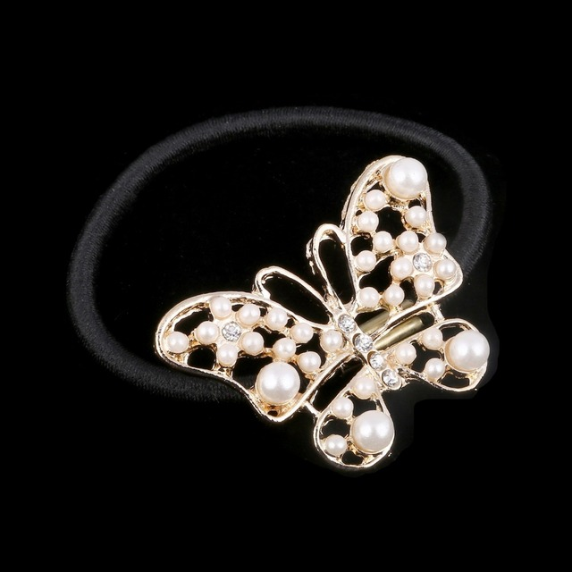 Cute Hair Accessaries Metal Hollow Out Imitated Pearl Butterfly Hairbands Elastic Ties Ponytail Holder Hairbands for girl SF004