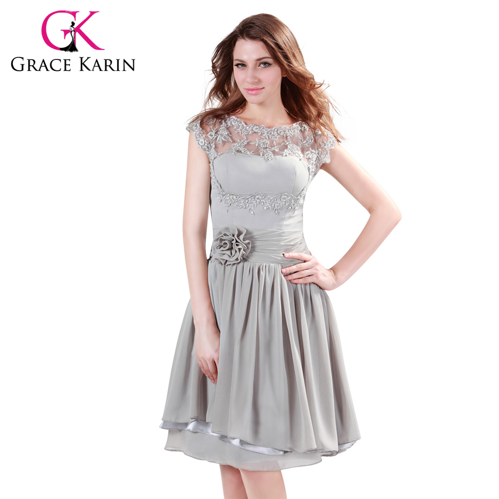 Chiffon formal wedding party dress cap sleeve lace special occasion