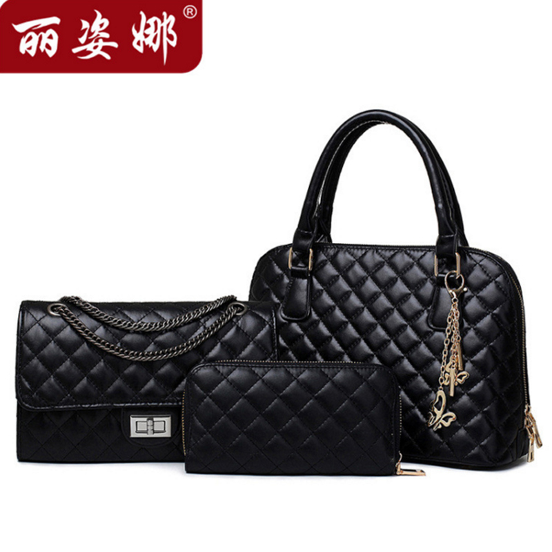 women blue black gold handbags leather handbag women messenger bags ladies brand designs bags Handbag+Messenger Bag+Purse 3 Sets(China (Mainland))
