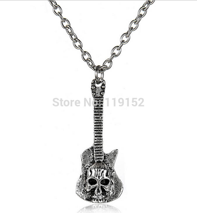 2015 Punk Skull Guitar Pendant Gothic Personality Chain Necklace Fashion Jewelry Charm Gift for Men Women(China (Mainland))