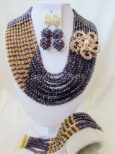 Selling African bead, bead in Nigeria, the bride wedding suit, crystal necklace bracelet earrings  A2012<br><br>Aliexpress