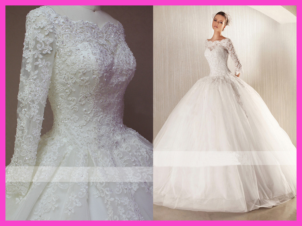 2015 winter ball gown floor length beaded lace long sleeve for Long sleeve beaded wedding dress