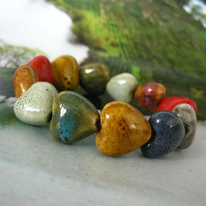 Women Charming Bohemia Ceramic Beads Bracelet Colorful Bangle Elastic Heart Shape Fashion(China (Mainland))