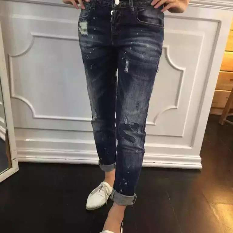 2015DSquality Fashion men Skinny Denim Jeans Blue Paint Slim Scratched Distrressed Patchwork Ladies Pencil Pants  3093! Одежда и ак�е��уары<br><br><br>Aliexpress