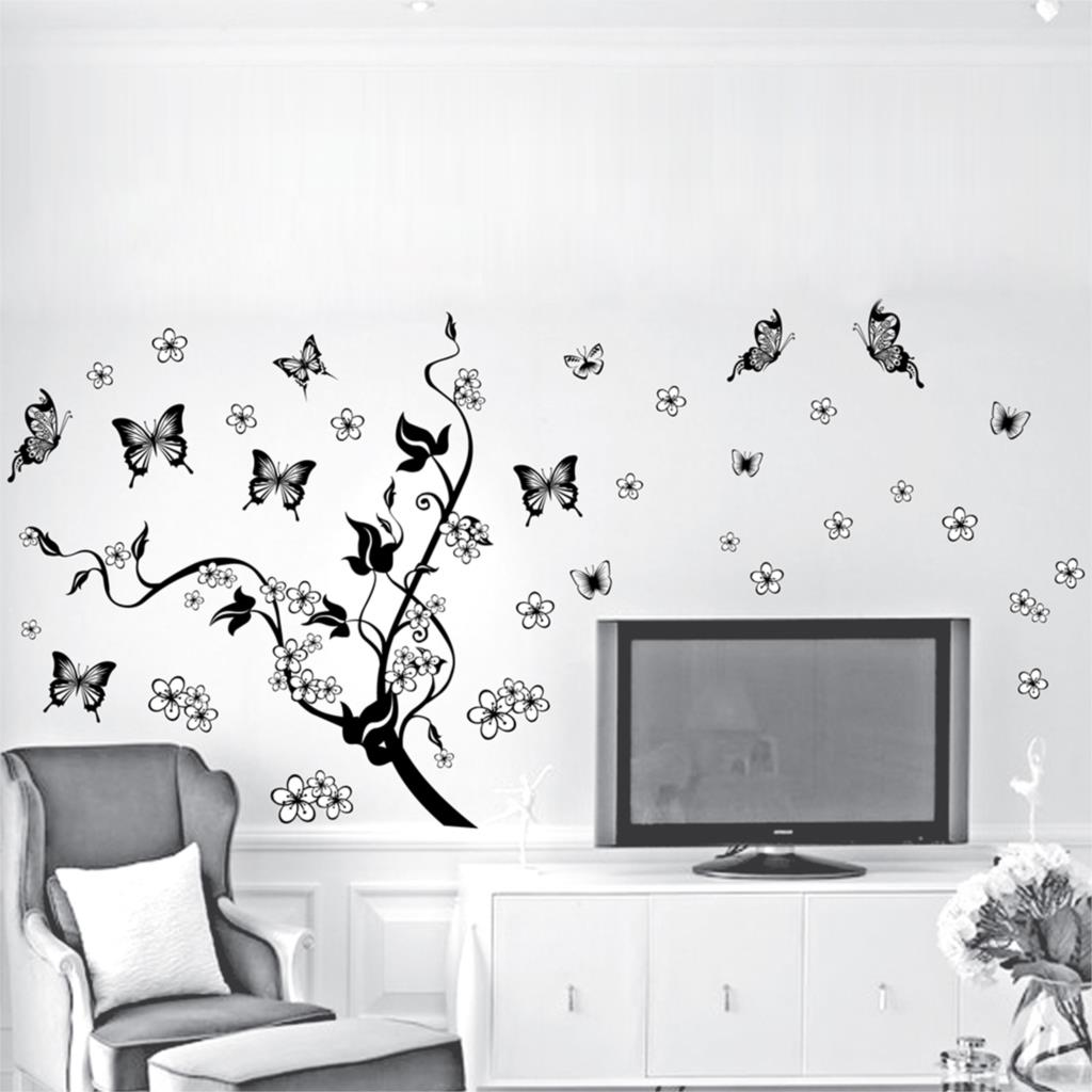 product 2015 New Hot Wall Sticker home decor PVC Wall Decal With Black Color 50*70cm/Flower and Butterfly Wholesale