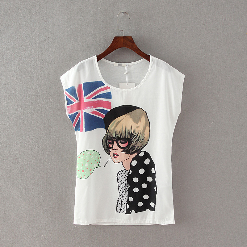 Buy basic cotton white t shirt womens summer chiffon for Ladies american flag t shirt
