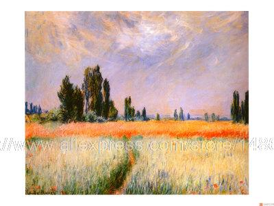 Claude Monet Distant Poplars Oil Painting Repro Wall Canvas Van Gogh Wall Pictures Abstract Canvas Wall Art Blue Painting art(China (Mainland))