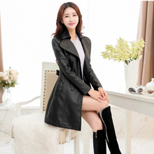 New 2015 Autumn and Winter Faux Leather Jackets Women's Long Design Slim Casual Leather Jacket Women Coat Free Shipping