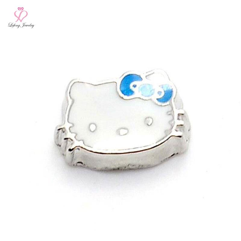 New cute zinc alloy white enamel blue hello kitty floating charms for living photo memory glass lockets FC286(China (Mainland))