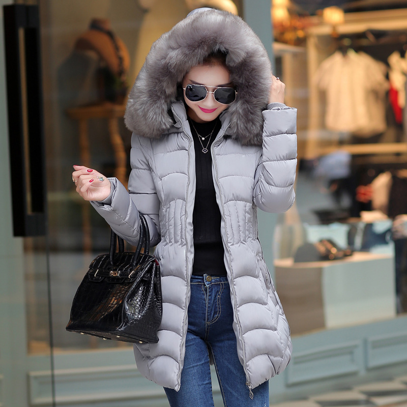 2015 new fashion Women long down jacket lady hooded slim winter coat with big fur collar luxury warm thick parkas outerwear 508#(China (Mainland))