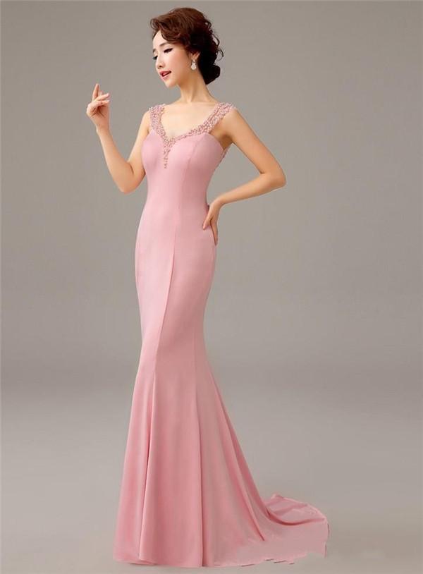 Мать платья невесты розовый русалка вечернее платье вышивка бисером сексуальный с v-образным вырезом открытая задняя часть официальный платья vestidos longos