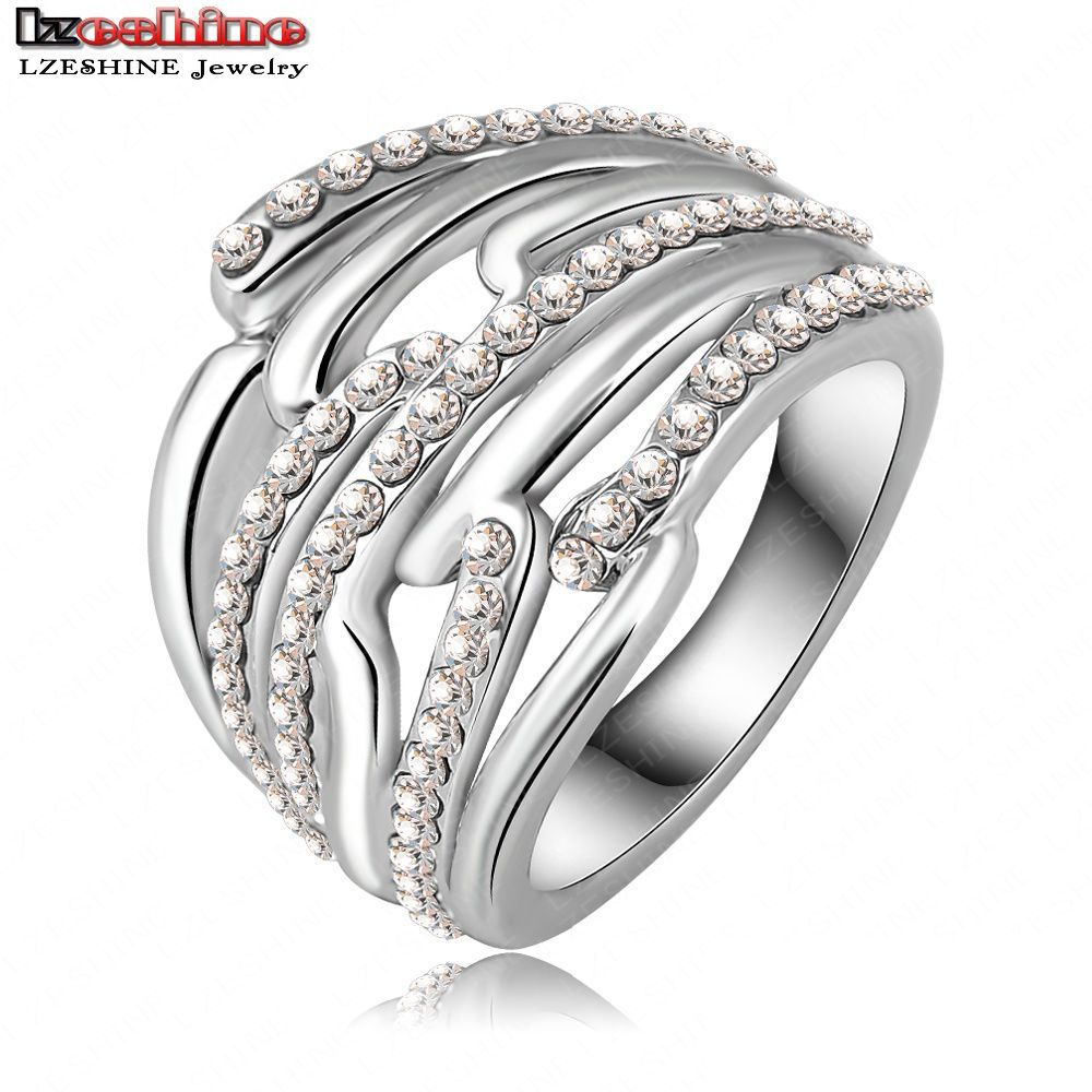 Hot Selling Luxury Unique Engagement Rings/Eternity Rings With Platinum Plating Pave Czech Crystals Punk Jewelry Ri-HQ0145(China (Mainland))