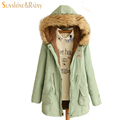 2016 College Students fall and winter clothes female hooded padded plus size thick velvet long women