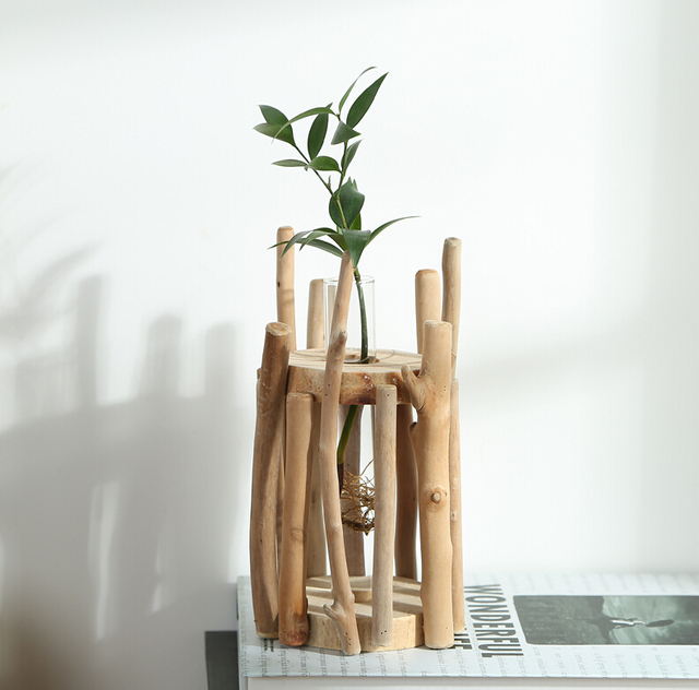 Home Decor European Style Unique Wood Vase 100 Handmade Natural Artwork Glass Tube Planter Wood