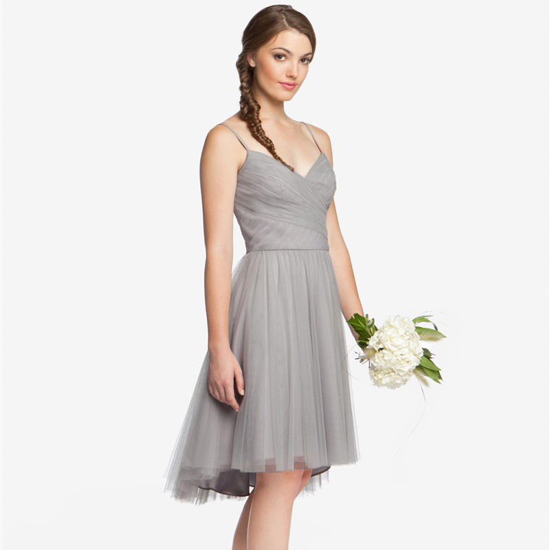 Plus size spaghetti straps high low cheap silver grey for Gray dresses for a wedding