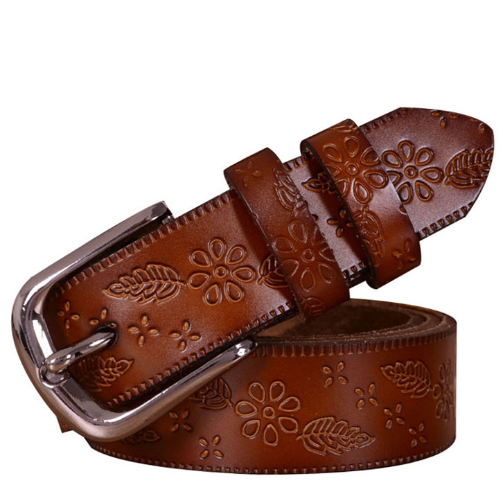 2015 100% genuine leather belts women brand designer carved vintage pin buckle belt fashion cintos femininos cinture - FASHION NEW STORE store