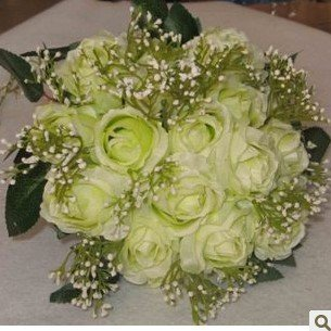 Light gree bride holding flowers, 18 Rose simulation wreaths, floral crafts, decorative flowers, with ribbons, free shipping