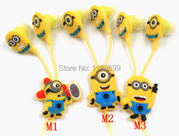 NEW cartoon in-ear wired 3.5mm earphone headphone Despicable Me Minions model headset for MP3 MP4 cell phone(China (Mainland))