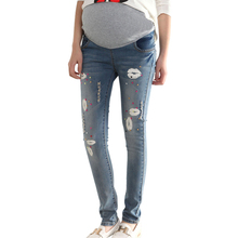 2015 Autumn New Maternity Jeans High Quality Trousers For Pregnant Women Elastic Waist Pants Plus Size