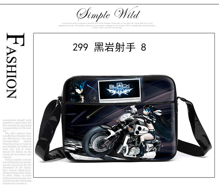 Black Rock Shooter Unisex Cartoon Anime Cosplay Messenger Bag Waterproof PU Men Women Schoolbag Shoulder Bags Free Shipping