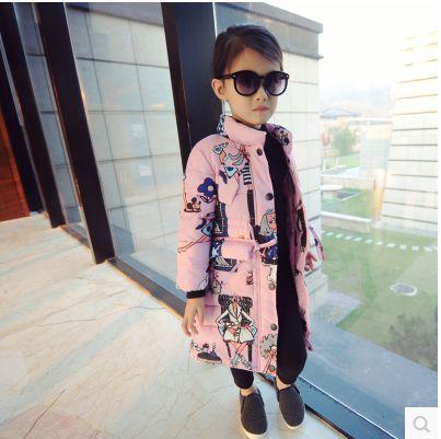 Retail New Baby Girl Coat European Model Children Kids Fashion Printed Coats Winter Coat Outfits Black Pink(China (Mainland))