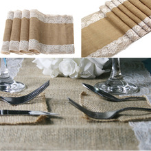 5 pieces/lot Vintage Burlap Table Runner