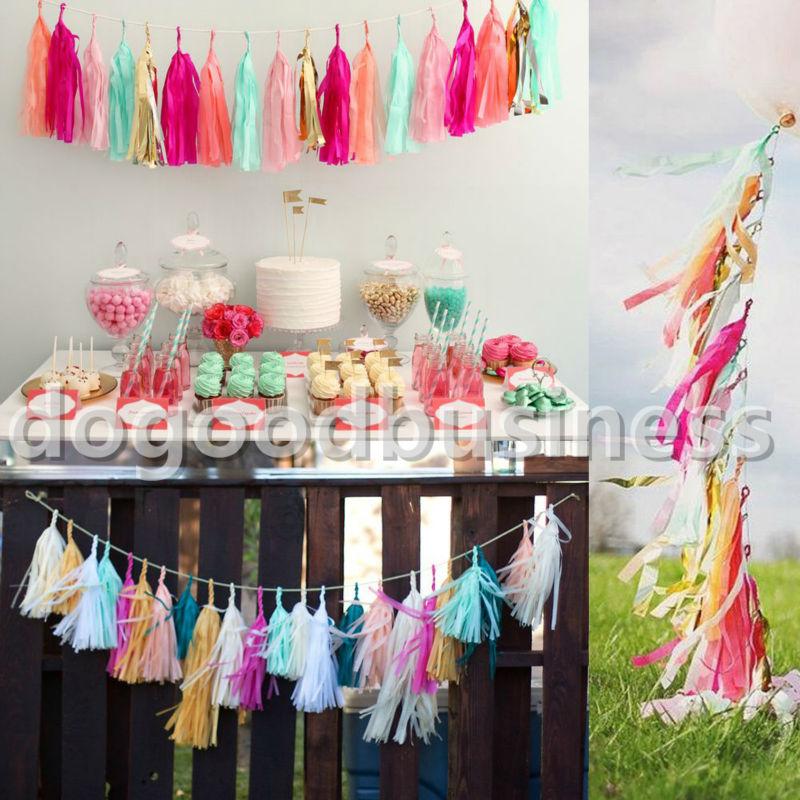 5Pcs/Bag 14 Inch(Width) 36*25CM Tissue Garlands Bunting Paper Tassels Garland Wedding Pom Party Decor tassles decoration(China (Mainland))