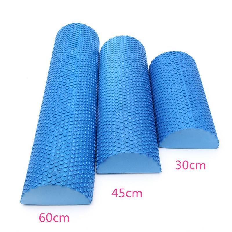 Hot Sale Blue Yoga Blocks EVA Foam Yoga Roller Pilates Fitness Half Round Foam Roller With Massage Floating Point 30cm 45cm 60cm