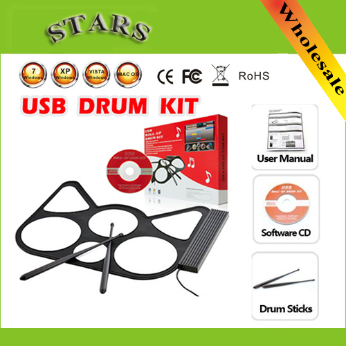 Free Shipping Wholesale Portable USB Roll Up electronic percussion instruments musical drum set with Plastic stick for kids(China (Mainland))