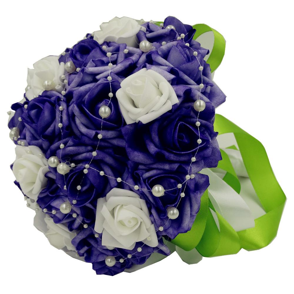 Artificial Bridal Bouquet White : Foam rose purple artificial wedding accessories bridesmaid