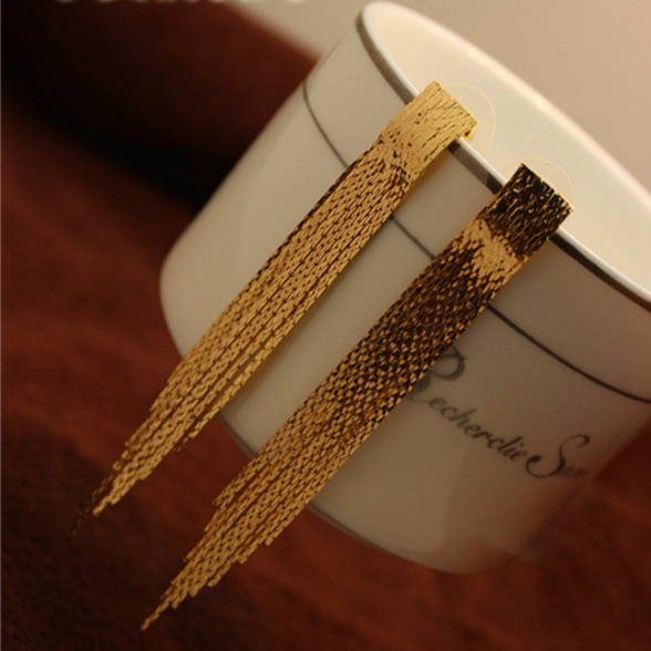 Top Quality New 2013 Exaggerate 18K Gold Plated Long Tassel Earrings/Clip Earring For Women,Free Shipping Fashion Jewelry XL252<br><br>Aliexpress