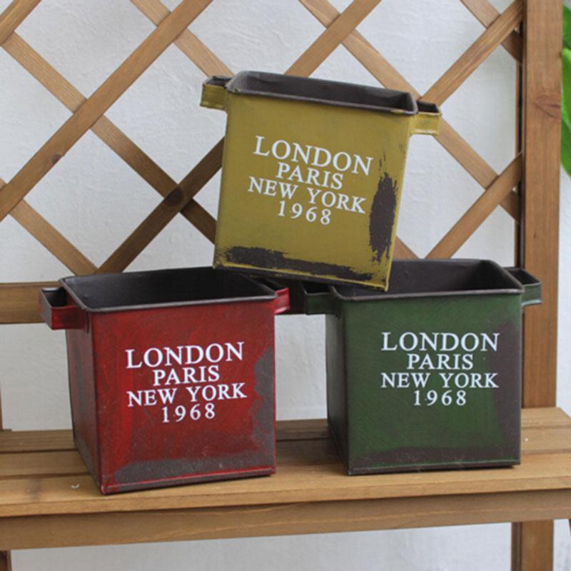 square vintage metal flower pots planters macetas saksi garden pots plant pot de fleur vasi