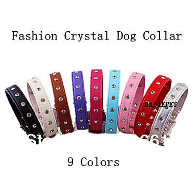 (Retail) ! (9colors&4 Sizes available)Classic Luxury Crystal PU Leather Dog Pet Collar 10% - Nantong Badie Supplies Co.,Ltd store