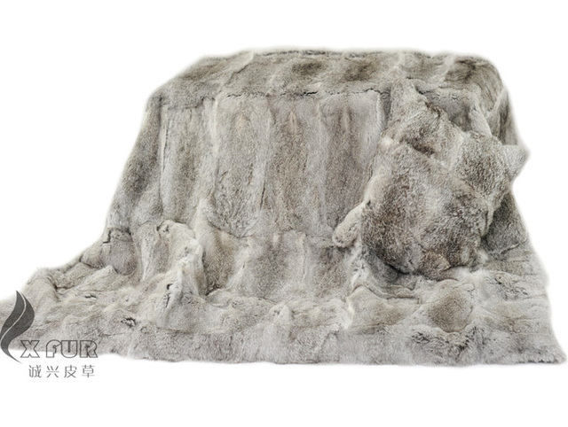 CX-D-08 150X200CM Natural Grey Colour Custom Made Rabbit Fur Blanket