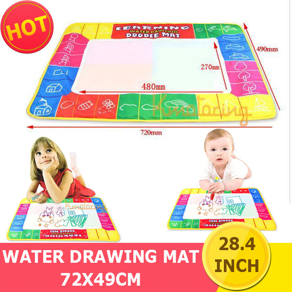 New 72x49CM 4 Color KidsToy aqua doodle Gift Water Educational Drawing Board with Magic Pen Writing Painting Board Mat free ship(China (Mainland))