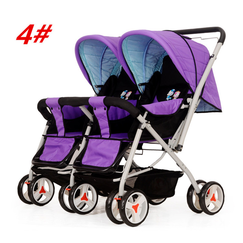 Hot Sale Twin Baby Stroller High Quality Steel Pipe Frame Pram 4 Colors Lightweight Folding Double Pushchair for Kids 0-36 Month<br><br>Aliexpress
