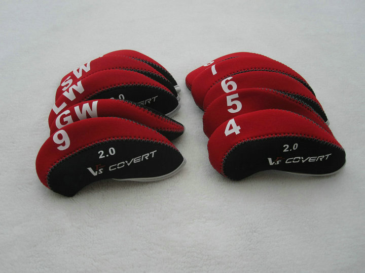 VRs COVERT 2.0 Golf Irons headcover with Numbers printed Red/black 10pcs/set golf irons head covers Right/Left handed(China (Mainland))