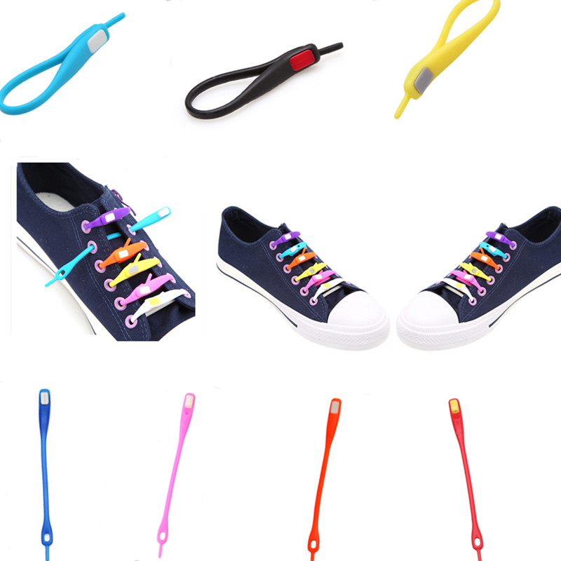 10 PCS /pack Novelty No Tie Shoelaces Unisex Elastic Silicone Shoe Laces For Men Women All Sneakers Fit Strap Sport PU Canvas
