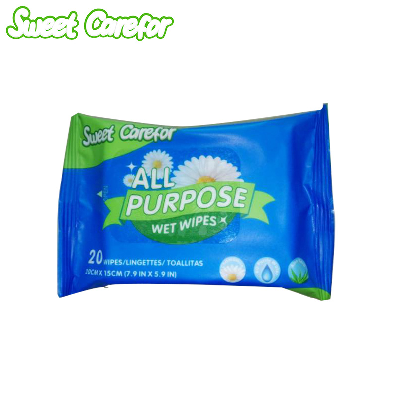 Sweet Carefor 20pcs/bag Hand And Mouth Wet Tissues Baby Adult Care Cleaning Wet Wipes Natural Formula Moisturizing Gentle(China (Mainland))