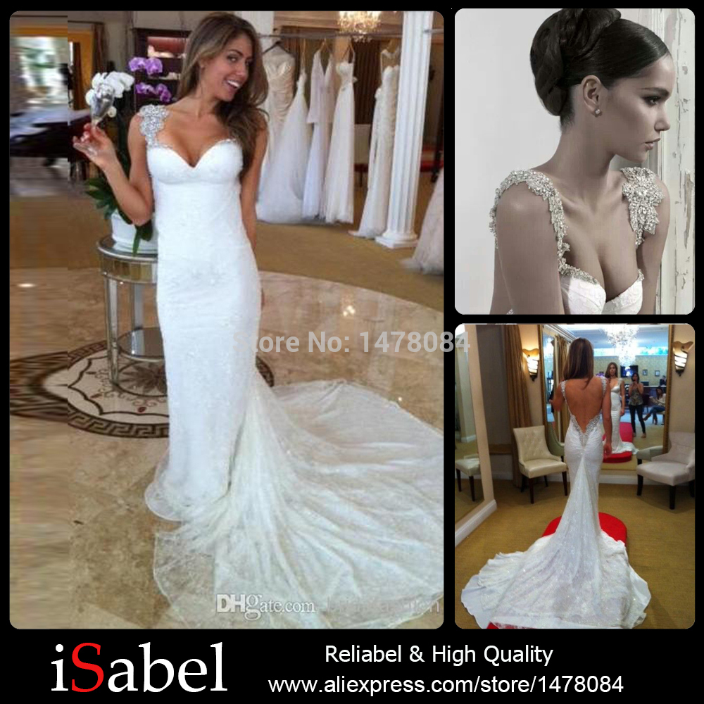 Hot selling sparkly beaded spaghetti strap sweetheart neck for Spaghetti strap backless wedding dress